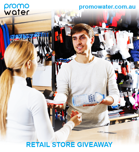 Retail store giveaway of custom labelled water bottles
